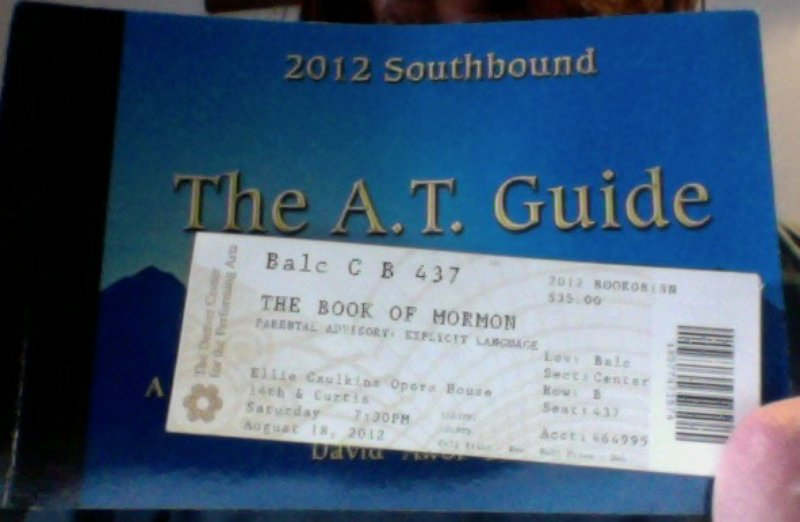 Photo of Book of Mormon ticket and guide cover